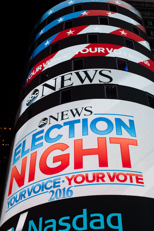 US election 2016 at Time Square